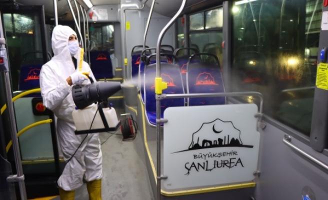 Urfa'da toplu taşıma araçlarında korona önlemleri alınıyor