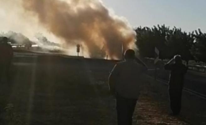 Mardin yolunda yangın: Cayır cayır yandı
