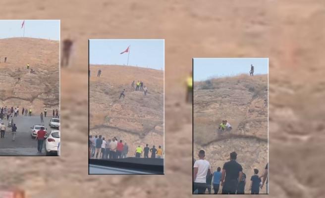 Birecik'te linç girişimi! Türk bayrağını indirmek istedi...