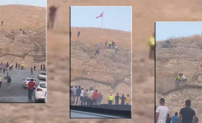 Türk bayrağını indirmeye çalışan şahıs tutuklandı