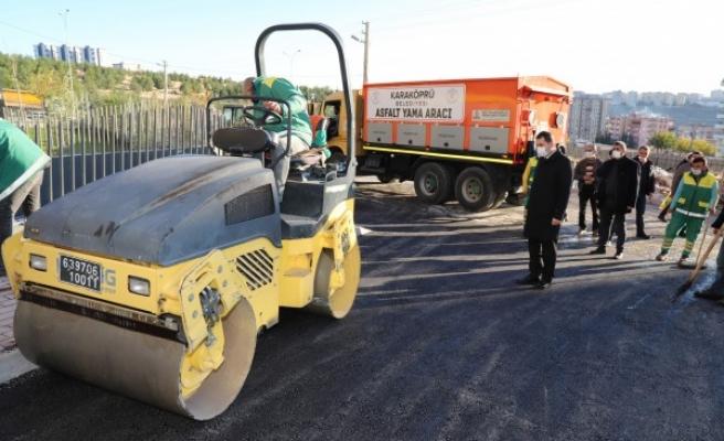 Karaköprü'de asfalt yama çalışmaları başladı