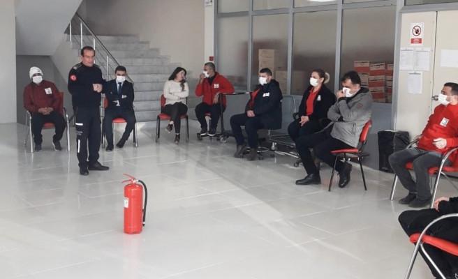 Kan Bağışı Merkezinde yangın eğitimi verildi