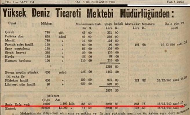 Yıl 1940: Urfa sade yağı yine gündemde!