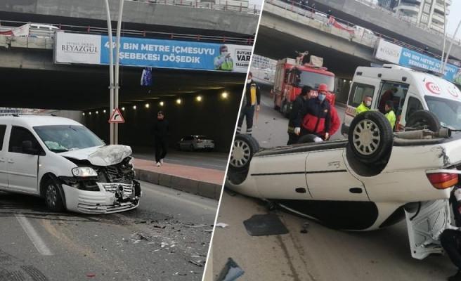 Narlıkuyu Kavşağında feci kaza: Yaralılar var
