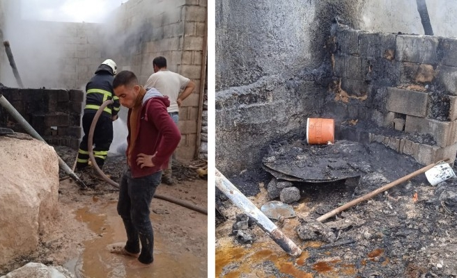 Suruç'ta ahır yangını