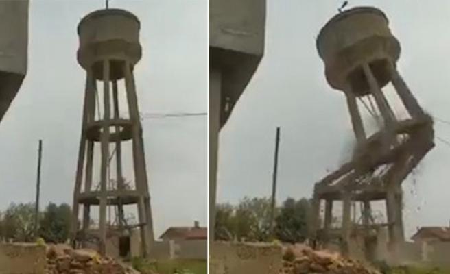 Viranşehir'de su deposu yıkıldı (EK)