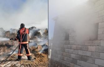 Akçakale kırsalında saman yangını